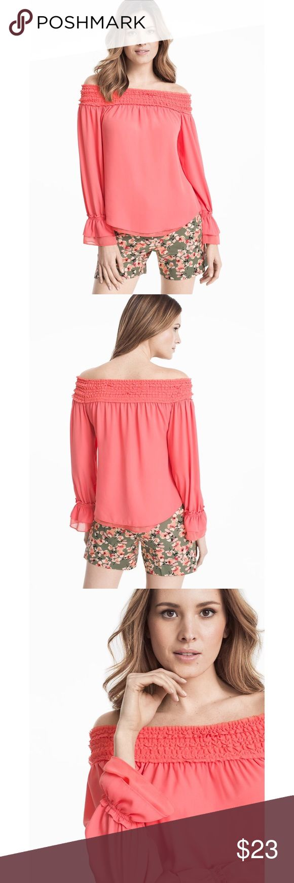 White House Black Market Off The Shoulder Blouse This off-the-shoulder blouse screams femininity thanks to the smocked neckline and pretty bell sleeves. Pair with floral print shorts or jeans and a pair of canvas slip ons for a fresh spin on your off-duty style.                                                       🛍Features: Bell Sleeves, Off The Shoulder  🛍Coloring: Coral  🛍Fit: Small  🛍Condition: New With Tags    🛍Fabric content: 100% Polyester    🛍Make an offer or bundle with other…