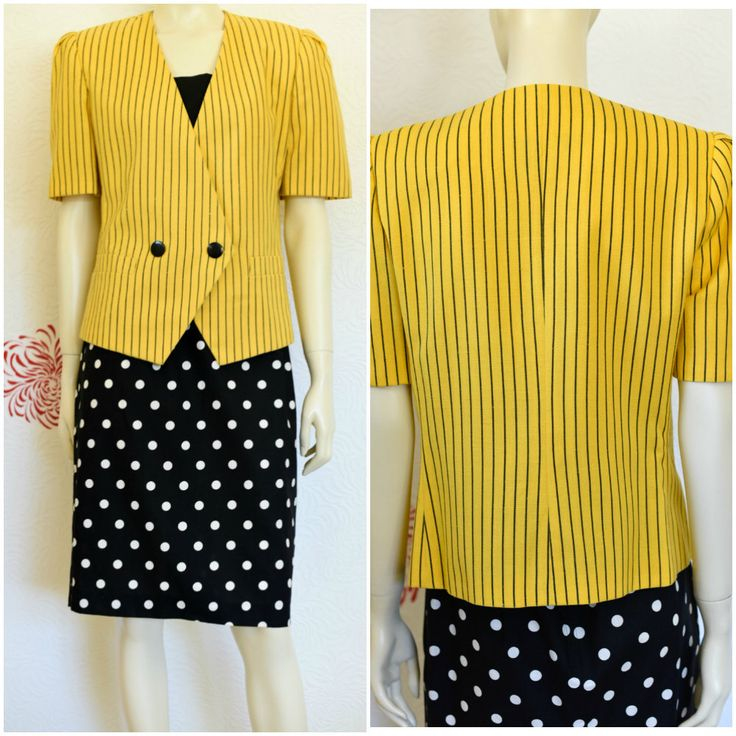 Vintage 80s Jacket | Ladies Blazer | Yellow Jacket | Pinstripe Blazer | Le Suit | Short Sleeve Blazer | Yellow Blazer | Puff Sleeve | 1980s by RubyVintageBoutique on Etsy https://www.etsy.com/listing/516108404/vintage-80s-jacket-ladies-blazer-yellow