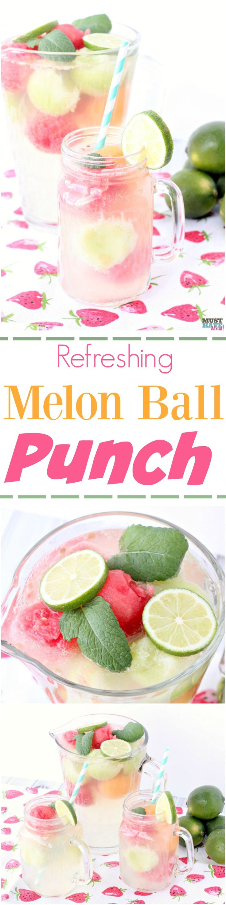 Refreshing Melon Ball Punch recipe combines sparkling white grape juice, lemonade and 7 up for a refreshing summer melon ball drink recipe!