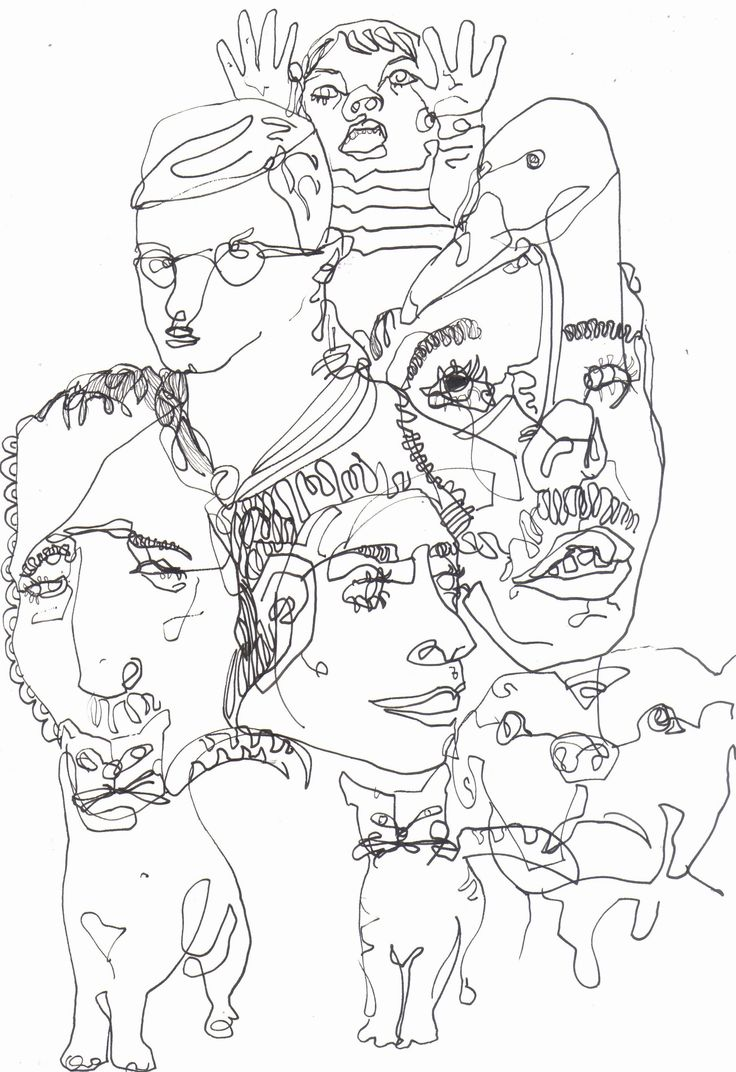 Line drawing of animals and faces, done with fine liner pen- Nina Meahan, 2014.