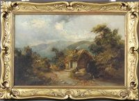 """Lot 684 E Niemanns, oil, a 19th Century landscape view of figures before a cottage and a country lane and mountains, signed 13"""" x 19.5"""" £200-300"""