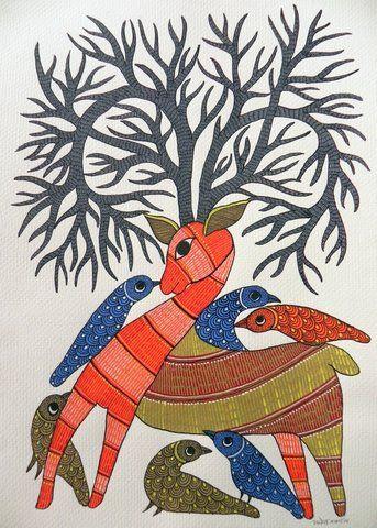 acrylic on paper by Rajendra Shyam