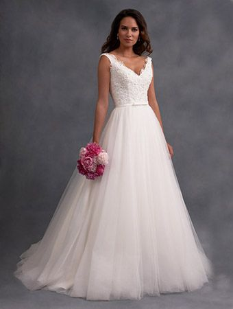 Alfred Angelo Style 2586: ball gown wedding dress with tip of the shoulder straps and cut away back
