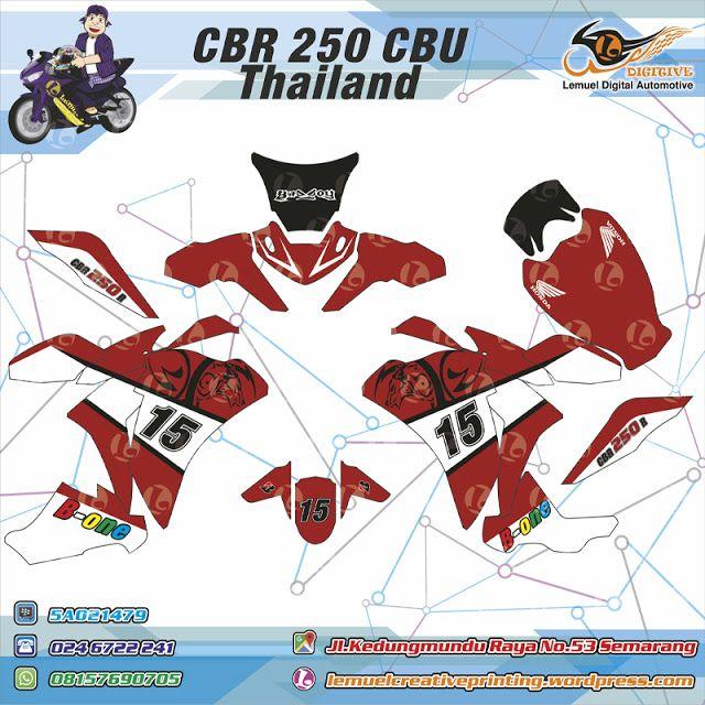 Custom Striping Motor Full Body Honda CBR CBU Thailand Thema Red White Strip Berkualitas Dengan Desainmu Sendiri by DIGITIVE