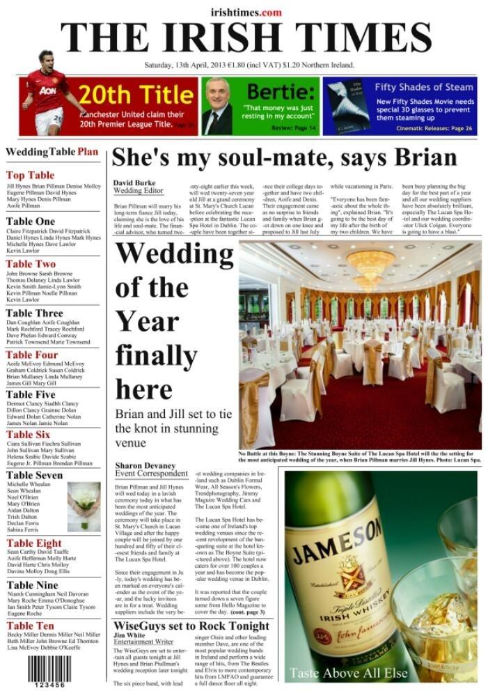 Irish Times Newspaper Wedding Table Plan design. Visit www.weddingtableplansireland.com for more ideas.