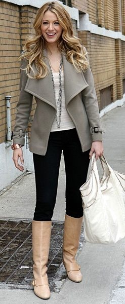 blake lively's flawless winter look = neutral palette + drapey coat + sleek riding boots