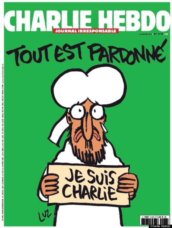 Charlie Hebdo Cover Features Muhammad Holding Je Suis Charlie Sign