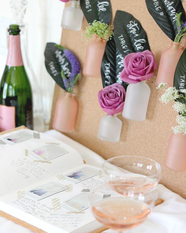 craft ideas for wedding place cards%0A DIY Bottle Escort Card Display  Diy WeddingWedding IdeasWedding