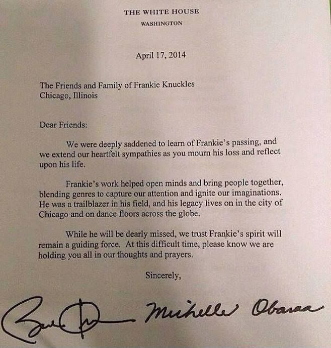 President Obama Michelle Obama Write Letter To Frankie Knuckles  President Obama Michelle Obama Write Letter To Frankie Knuckles Friends  And Family  News  Pitchfork  Listen  Pinterest  Frankie Knuckles