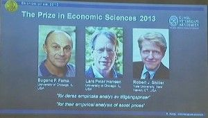 Three Americans awarded Nobel Prize Three Americans awarded Nobel prize in Economics today.  Three Americans Eugene Fama, Lars Peter Hansen and Robert Shiller have been awarded Nobel memorial prize in Economic sciences.