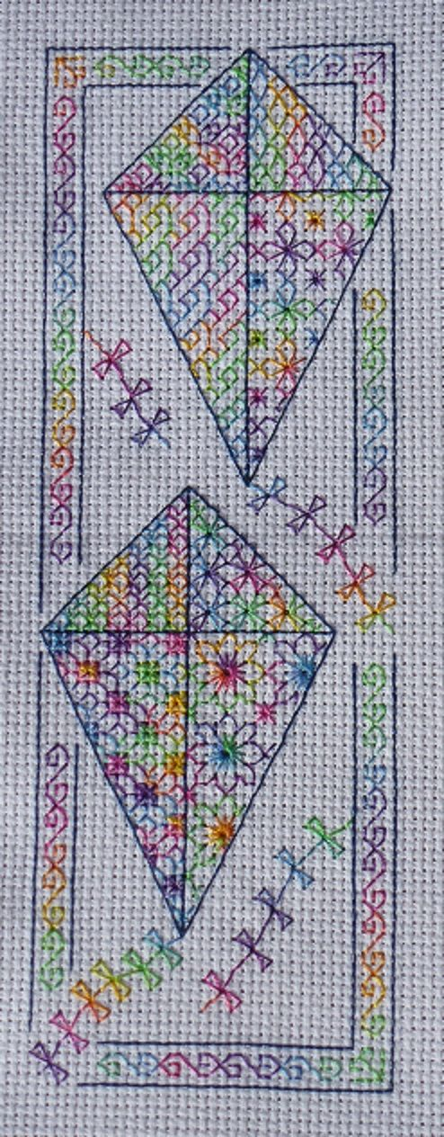 Colourful Spring Kites Blackwork embroidery pattern by Storm's Stitches on Etsy and Facebook https://www.facebook.com/stormsblackwork
