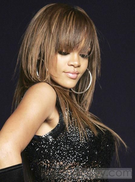 Amazing Rihanna's Hairstyle Long Straight Strawberry Blonde Wig 100% Human Hair about 18 Inches