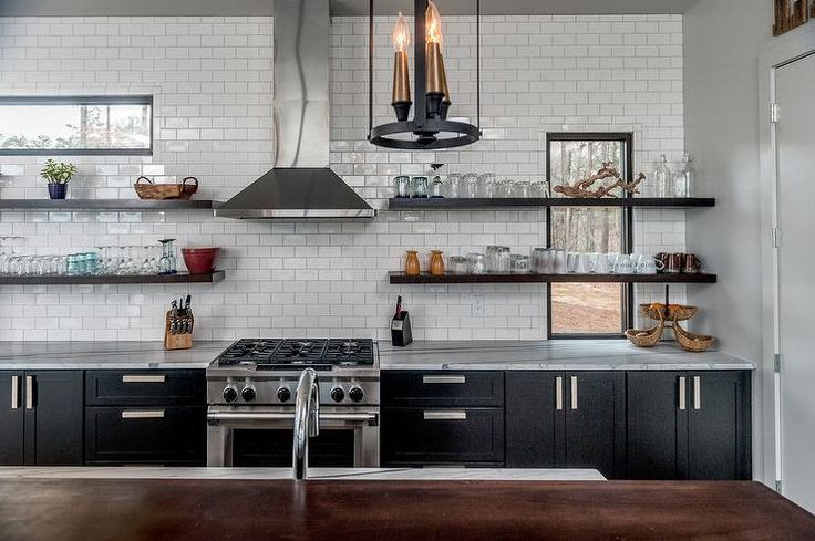 Kitchen with Stacked Wood Shelves in Front of Windows, Contemporary, Kitchenp