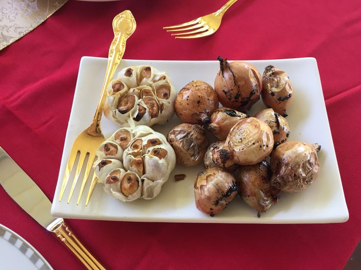 Roast onions and garlic.