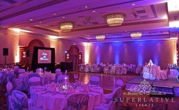 Wireless uplights in purple and amber for a wedding in Maryland.