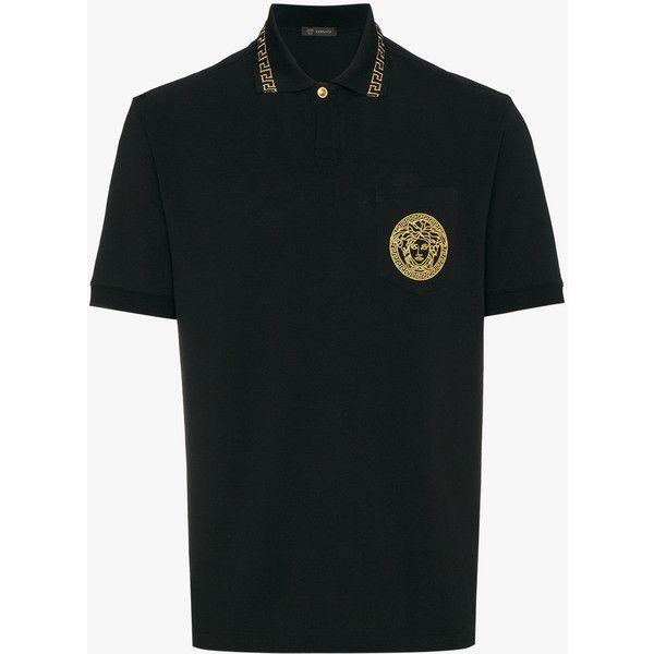 Versace Medusa Embroidered Polo Shirt (1.550 RON) ❤ liked on Polyvore featuring men's fashion, men's clothing, men's shirts, men's polos, black, men's snake print shirt, mens short sleeve shirts, mens glitter shirt, mens embroidered shirts and mens polo shirts