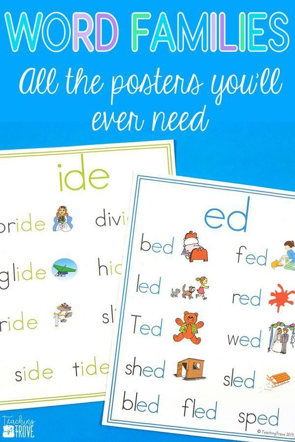 Word Family Posters with 67 Different Word Families Teaching