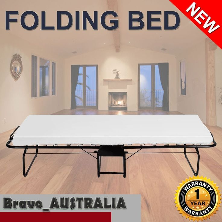 Portable Folding Single Metal Bed Mattress & wheels Camping Indoor Fold up 150kg