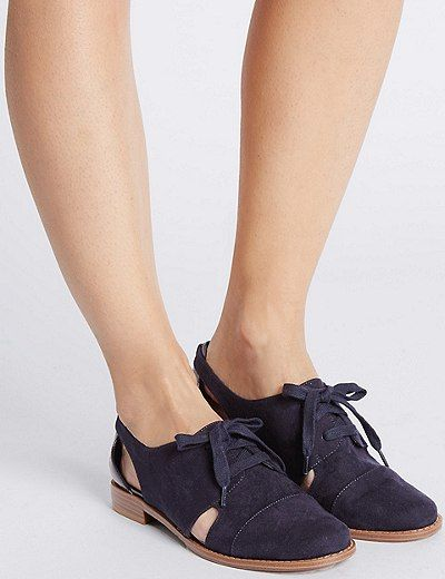 Block Heel Cut Out Lace Up Brogue Shoes | Marks & Spencer London