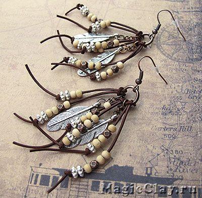 Серьги Дикий Запад Мастер класс - украшения своими руками - кожаный шнур - деревянные бусины - фурнитура для бижутерии