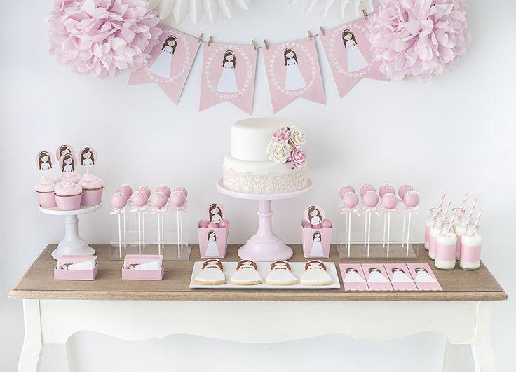 """Postreadicción galletas decoradas, cupcakes y cakepops: Mesa dulce de comunión """"Carlota"""""""