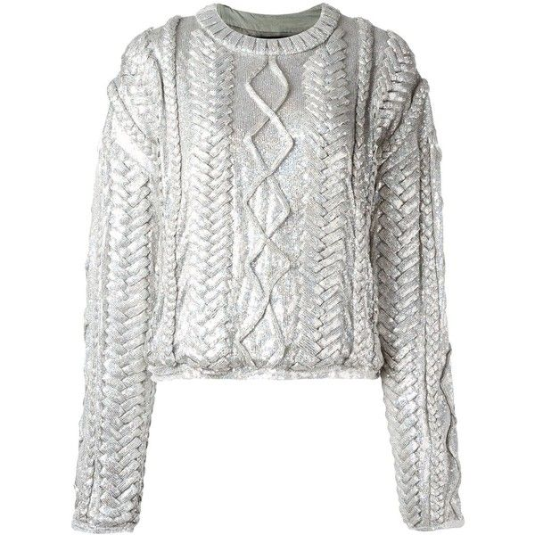 Filles A Papa 'Alba' sweater (78,340 PHP) ❤ liked on Polyvore featuring tops, sweaters, grey, metallic sweater, rayon tops, viscose tops, gray sweater and grey top