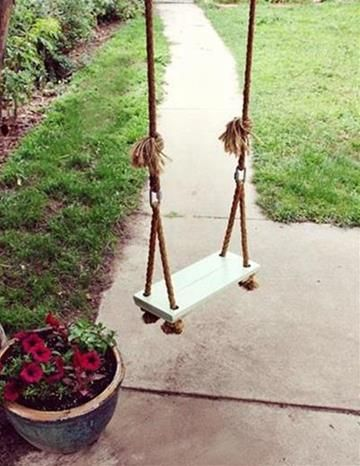 DIY Swing Project Chad made something like this between two trees. We love it!