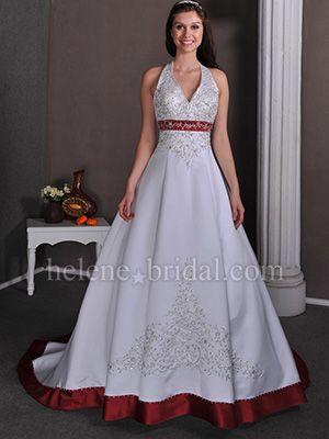 A-Line Ball Gown Princess Halter V-Neck Natural Waist Non-Strapless Satin Wedding Dress - US$ 319.99 - Style WD0622 - Helene Bridal