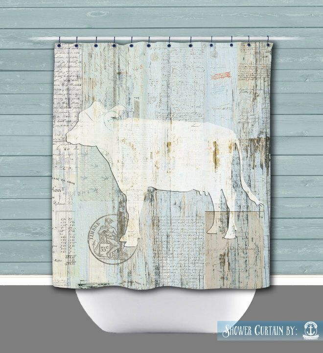 Farmhouse Shower Curtain: Cow Rustic Vintage Look Americana | Made in the USA | 12 Hole Fabric Bathroom Decor by BrandiFitzgerald on Etsy https://www.etsy.com/listing/290709249/farmhouse-shower-curtain-cow-rustic