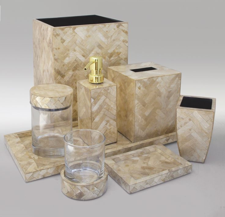 Gold Herringbone Luxury Shell Vanity Set From Gail Deloach
