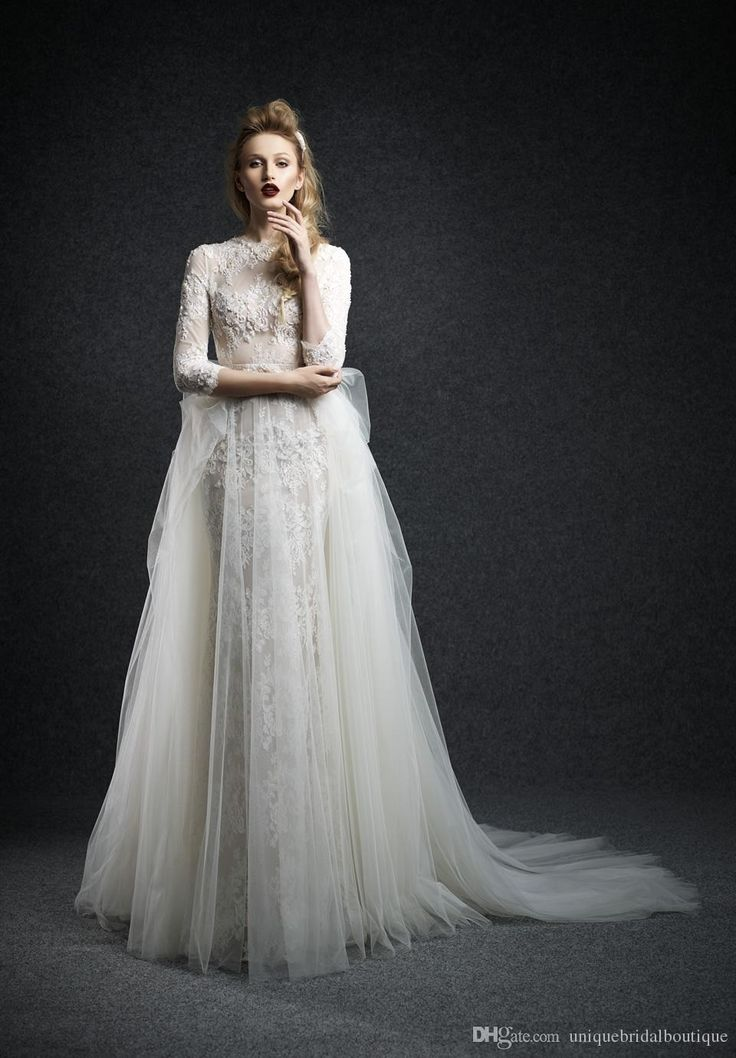 2016 Ersa Atelier Wedding Dresses 3/4 Long Sleeves With Tulle Overskirt And High Neck Beaded Lace Elegant Bridal Gowns With Free Veil Budget Wedding Dresses Chiffon Wedding Dresses From Uniquebridalboutique, $142.67| Dhgate.Com