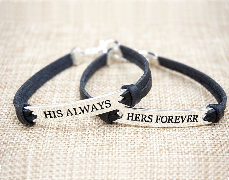 His And Her Bracelets Leather For Couples , Couples Jewelry For Him And Her Bracelet Sets , Custom Couples Bracelets For Boyfriend And Girlfriend (Black)