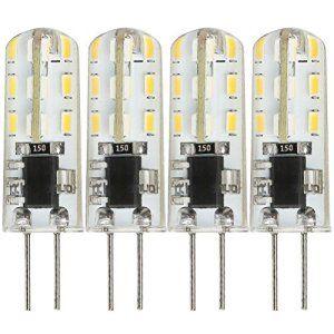 Kakanuo 4PCS 1.5W Ampoule LED G4 Non-Dimmable Lumière Blanc Chaud 3000K 100LM AC/DC10-18V 24pcs 3014 Angle d'éclairage 360 °Equivalent à…