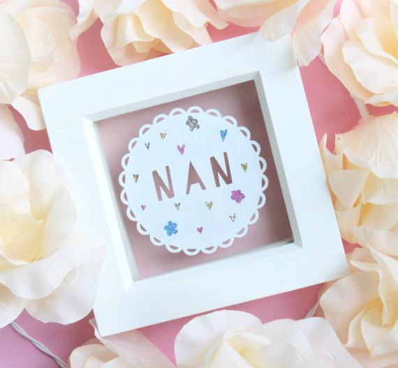 The perfect gift to show just how much you Mum means to you! A handcut papercut featuring the word Mum. Also available with Nana, Nanny, Nannan, Gran, Granny, Grandma, Mimi. Please select your desired name from the drop down menu provided! The papercut is displayed in a white box frame to give the effect the papercut is suspended or floating. I handcut each piece from a single sheet of white hammered acid free paper. Meaning it looks amazing and it will never discolour.  * CUSTOMISATION * In…