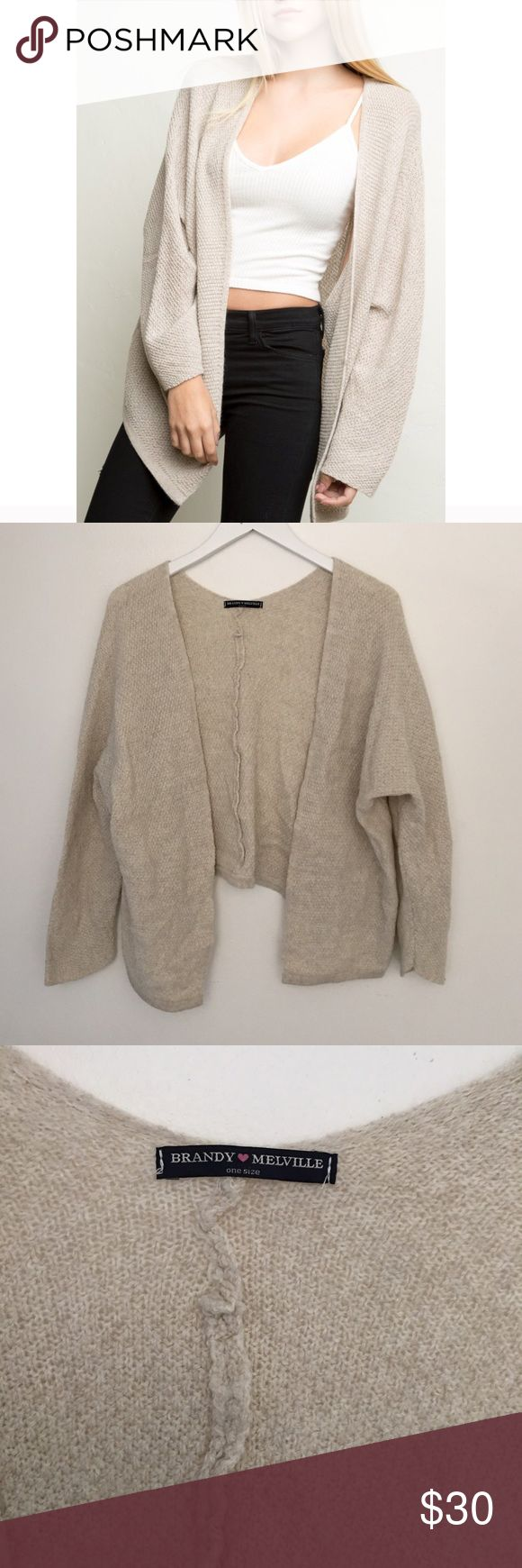 Brandy Melville Knit Cardigan Sweater Slightly shrunken, wool blend. So perfect and cozy for winter! Brandy Melville Sweaters Cardigans