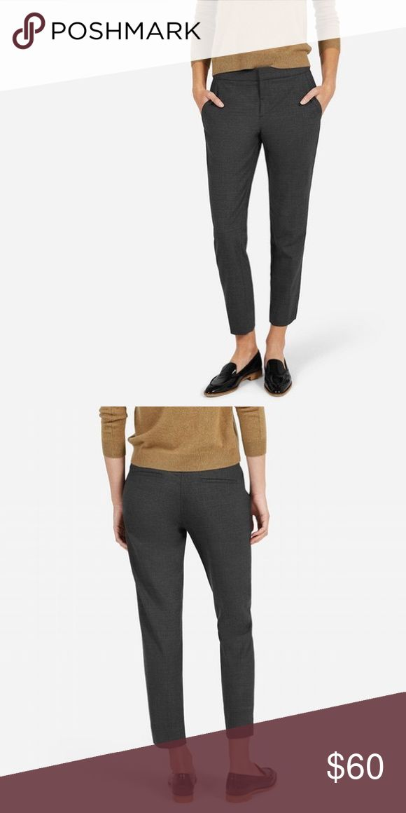Everlane Women's Slim Trouser in Charcoal, Size 4 The classic pant with a clean, flattering straight leg silhouette. It features two front slant pockets and side vents at leg opening. The fabric is a mid-weight two-way-stretch wool blend. Selling because they are a little loose on me. Dry cleaned. Everlane Pants Trousers