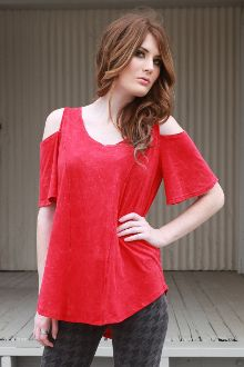 MERCY COLD SHOULDER TOP $49.50 This Sexy Top looks AMAZING on everyone! Great top for the your Holiday festivities! Cotton Modal Color: Red Distress Wash Proudly Made in Los Angeles, CA (USA)