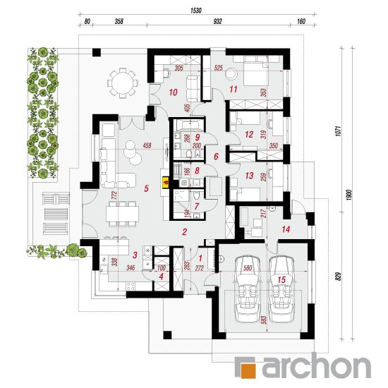 projekt Dom w jonagoldach 3 (G2) rzut parteru