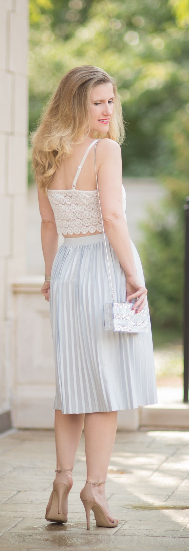 Petite Fashion and Style Blog   Fashion over 40   Misguided Circle Lace Crop Top   Topshop Pleated Midi Skirt   Milly Acrylic & Glitter Box Clutch   Click to Read More...