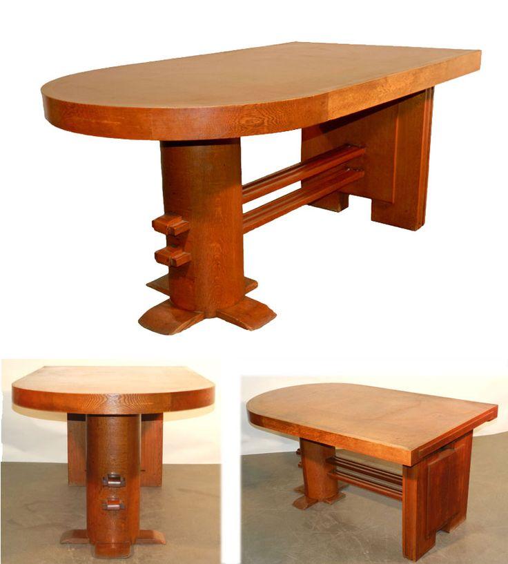 Charles dudouyt bureau table de bureau en chene vers 1945 · desksorganizationsoak deskbureausart decotablesorganisationoffice