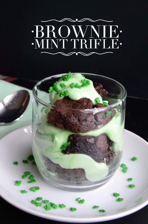 Brownie Mint Trifle {St Patricks Day Recipe}