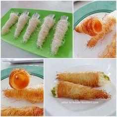 yetur'la lezzet kareleri: kremalı külah kadayıf tatlısı-1/2 Kg TAZE KADAYIF 125 gr eritilmiş tereyağ.şerbet için 1 S.B.Şeker.3/4 S.B.su-külahların içine krema-3 yumurta 3 ç.k.un 7 ç.k.şeker 2 B.SÜT 1 paket vanilya.