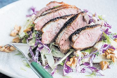 Duck with apple, cabbage, fennel and walnuts