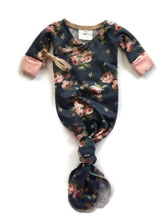 For BABY Girl: Girls Kimono Style Knotted Baby Gown; These are the BEST for infants...Look for wrap or sidesnap gowns with the hand pockets to cover finger nails...Etsy has lots of cute ones... Women, Men and Kids Outfit Ideas on our website at 7ootd.com #ootd #7ootd