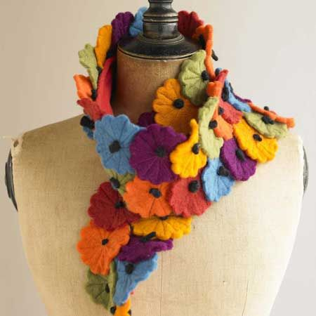 Long Felt Flower Scarf.