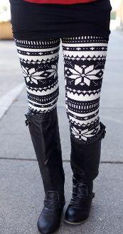 Cream & Black Winter Leggings-I'd like to try this sometime.