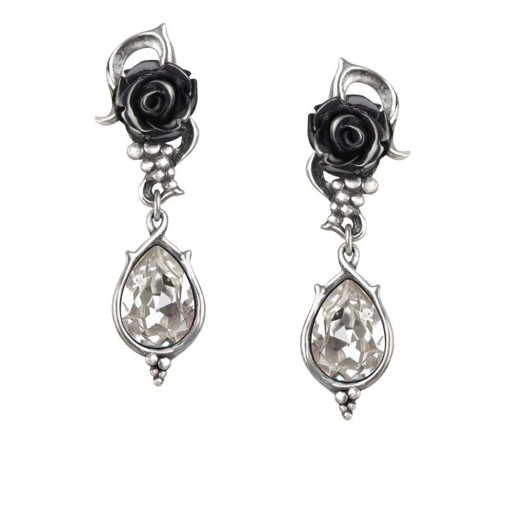 Alchemy Gothic Bacchanal Black Rose Teardrop Earrings  #metallife #manga #oi #darkwave #alternativefashion #horrorpunk #spookygirl #gothsofinstagram #rivethead #gothicvictorian