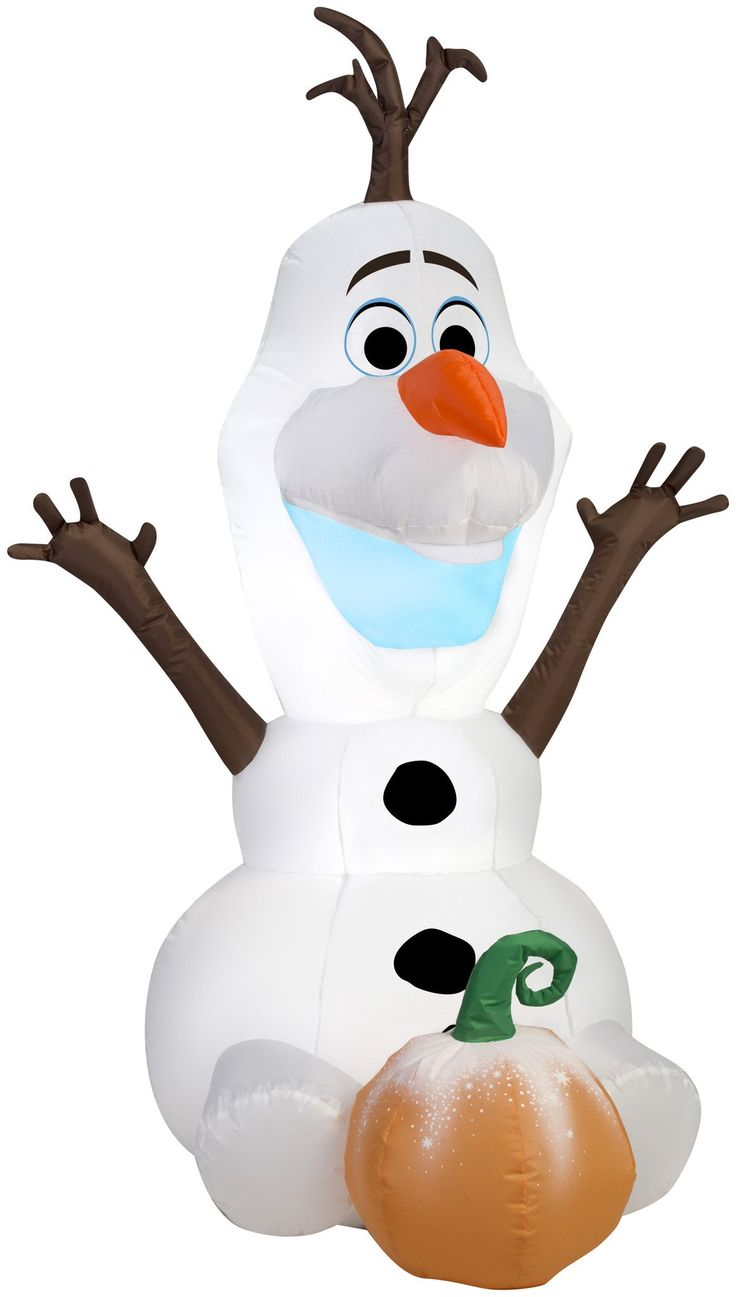4' Airblown Olaf Sitting with a Pumpkin Halloween Inflatable