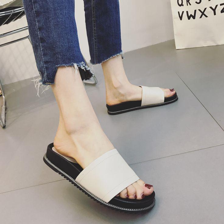 2017 Women's Summer Platform Slipper White Comfortable Footwear Open Toe Slip on Pantuflas Mujer PU 35-39