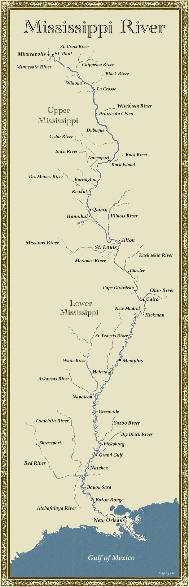 Mississippi River Map.  I have been to the start, middle and end in my life.